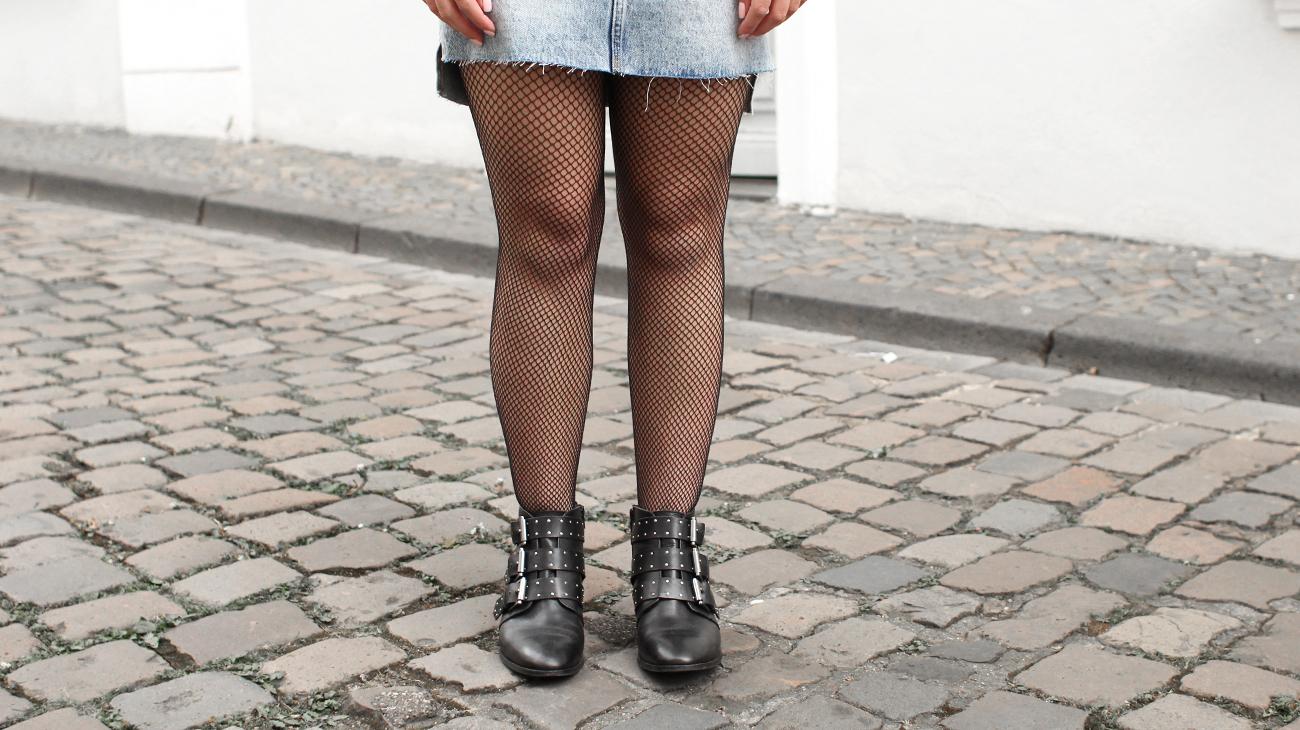 jupe en jean collants résille